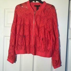 Geranium lace bomber jacket from Macys